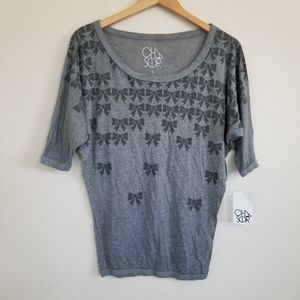 NWT Chaser Ribbon Print Dolman Sleeve Top Size S